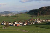 Blick auf das Quartier Frecht in Busswil